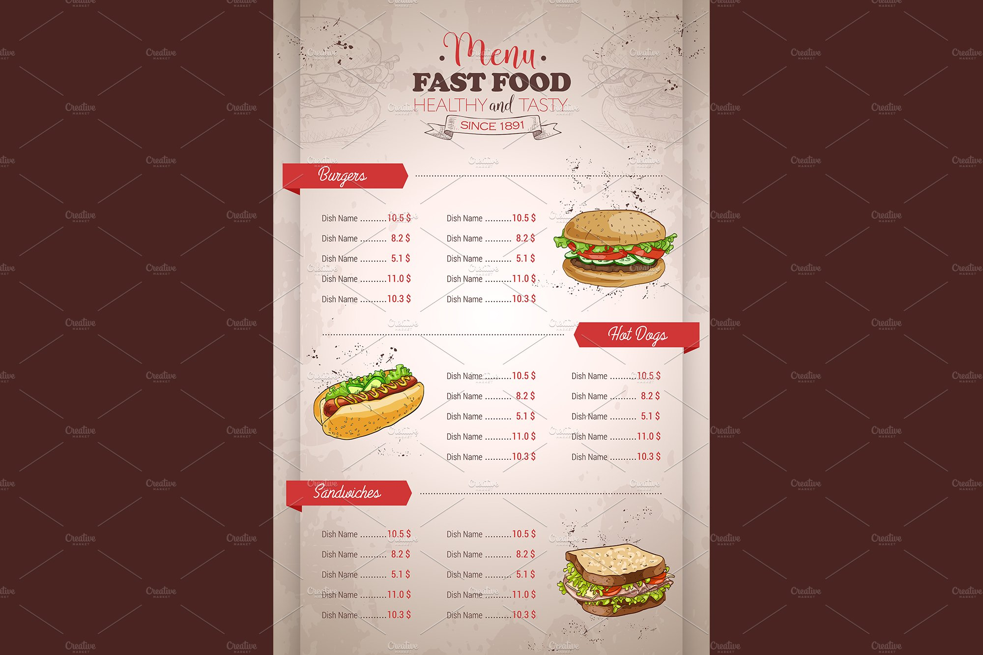 vertical color fast food menu design ~ illustrations ~ creative market