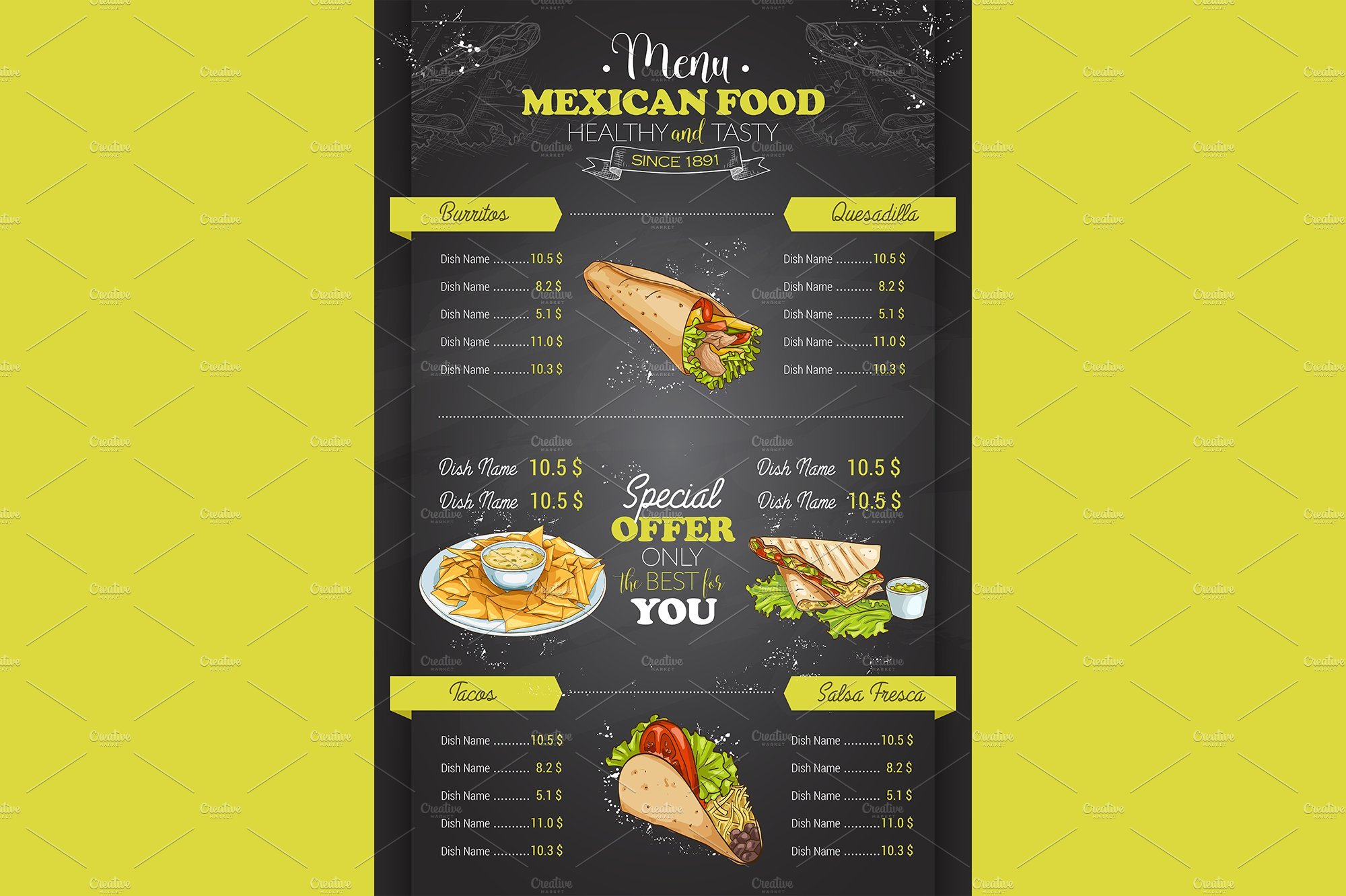 vertical color mexican food menu ~ illustrations ~ creative market