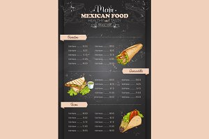 vertical color mexican food menu