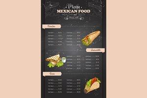 vertical color mexican food menu