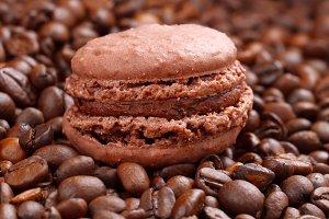 Macaron on coffee beans