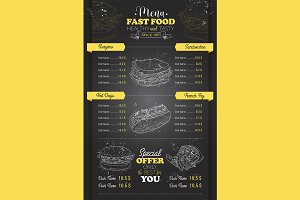 vertical scetch of fast food menu