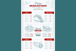 vertical scetch of mexican food menu