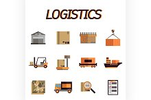Logistic flat icon set