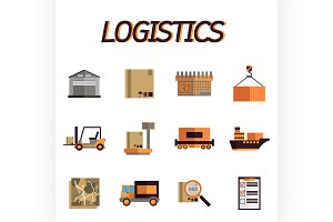 Logistic flat icon set
