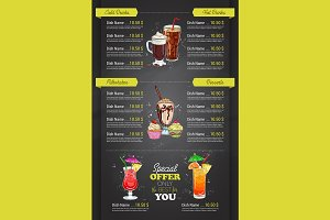 vertical color cocktail menu