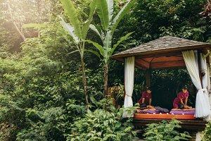 Massage pavilion in nature