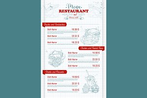 Restaurant vertical scetch menu