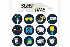 Sleep time flat icon set