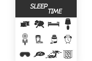 Sleep time icon set