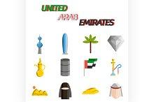 United arab emirates flat icon set