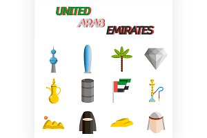 United arab emirates flat icon set