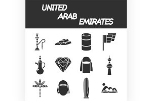 United arab emirates icon set