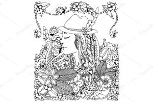 Doodle girl in hat and flowers.