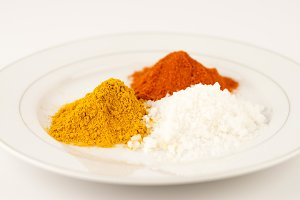 turmeric, salt and chilly powder