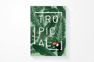 toucan tropical template vector