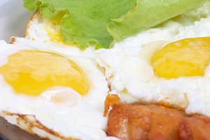 Fried eggs with meat
