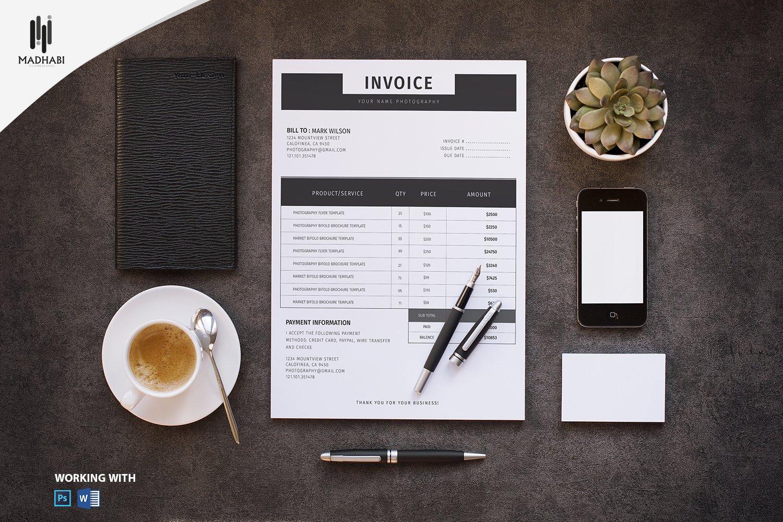 minimal invoice template stationery templates creative market
