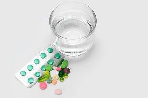 water and vitamins, pills