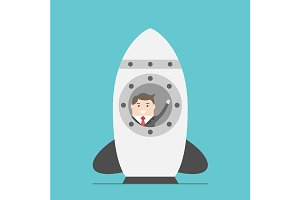 Businessman in space rocket