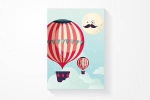 hot air balloon and mr moon vector