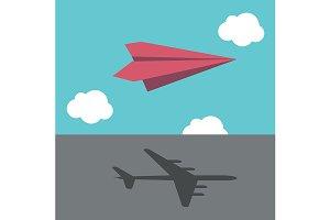Paper plane casting shadow