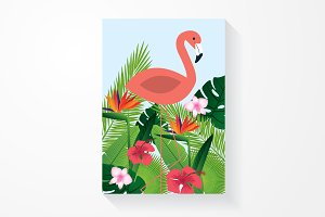 tropical flamingo vector