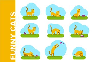 Funny cats. Flat illustrations set