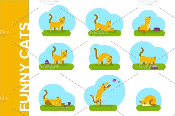 Funny cats. Flat illustrations set - Illustrations