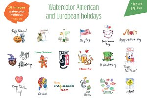 Watercolor American holidays