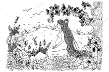 Doodle pregnant woman in flowers.