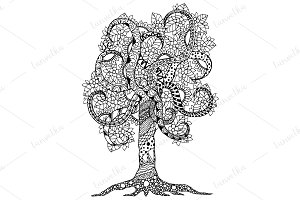 Doodle tree with flowers ornament.