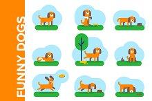 Funny dogs. Flat illustrations set