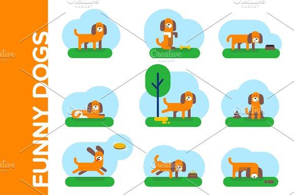 Funny dogs. Flat illustrations set - Illustrations
