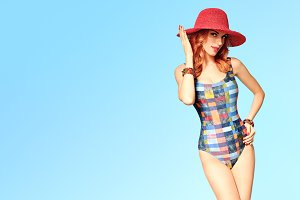 Fashion. PinUp Model woman in Swimsuit. Summer