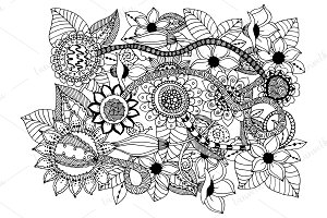 Doodle abstract flowers.