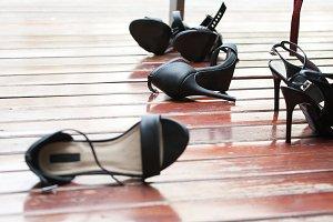 High heels left on the floor