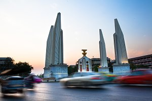 Twilight Sunset of Democracy Monument located in Bangkok, Thailand