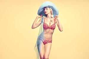 Fashion. PinUp model woman in Beach Bikini. Summer
