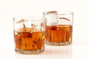 whisky glasses on the rocks