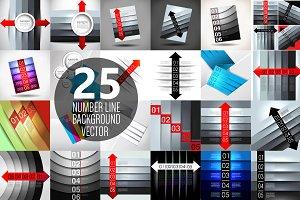 Number line backgrounds set