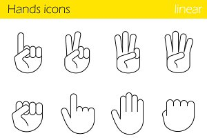 Hand gesture. 12 icons. Vector