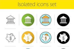 Banking and finance 12 icons. Vector