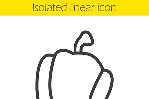 Bell pepper linear icon. Vector