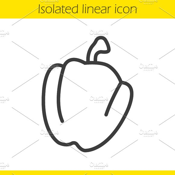 Bell pepper linear icon. Vector - Icons