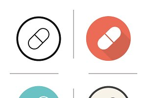 Pill. 4 icons. Vector