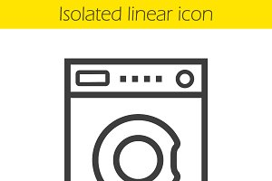 Washing machine linear icon. Vector