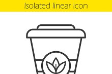 Takeaway tea cup linear icon. Vector