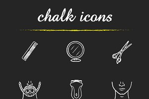 Barber shop. 9 icons set. Vector