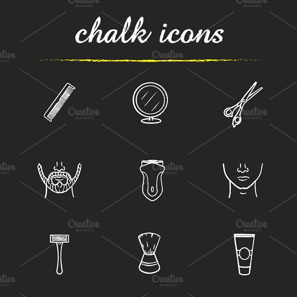 Barber shop. 9 icons set. Vector - Icons